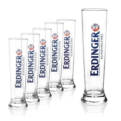 ERDINGER Vasos de cerveza de trigo sin alcohol, 0,5 l, 6 vasos de cerveza de trigo de 0,5 l, vasos ideales para cerveza blanca