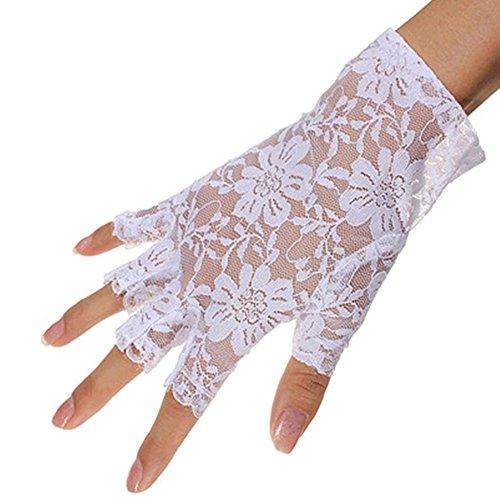 MINGZE Guantes de encaje, mujeres guantes de medio dedo de longitud de...
