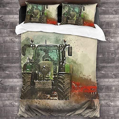 Juego de ropa de cama de 3 piezas de 2016 x 180 cm, diseño de tractor de fendt, con 2 fundas de cojín clásicas para habitación de huéspedes de hombre.