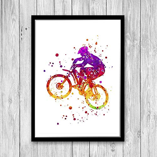 Mountainbiken print aquarel kunst mountainbike mountainbiker poster racefiets muur Art Decor MTB Decor MTB afdrukken MTB Wall Art