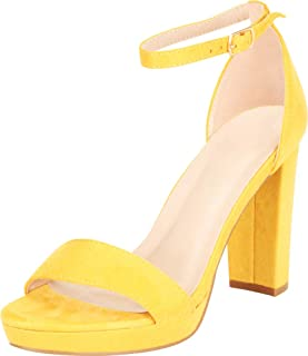 Cambridge Select Women's Open Toe Single Band Ankle Strap Chunky Platform Block Heel Sandal