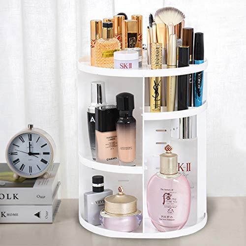 BTGGG Drehbarer 360 Grad Make-up-Organizer, höhenverstellbar, multifunktionale Aufbewahrungsbox, drehbare Kosmetikablage für Make-up und Zubehör, Display mit abnehmbaren Regalen, weiß