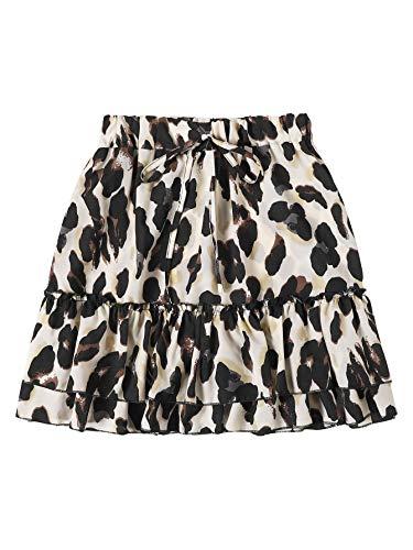 SheIn Women's Leopard Print Drawstring Waist Layer Ruffle Hem Short Skirt White Black Large