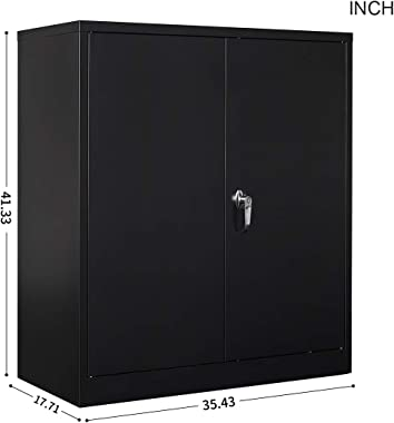 Full Metal Storage Cabinet with 2 Adjustable Shelves, Large Capacity Cabinet Organizers for Home Office, Utility Cabinet with