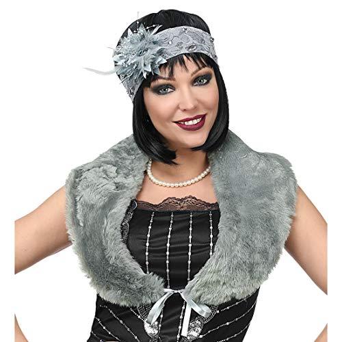 NET TOYS Charleston-Accessoires mit Stola & Kopfschmuck   Grau   Traumhafte Frauen-Verkleidung 20er & 30er Jahre Kostüm-Set   Genau richtig für Karneval & Mottoparty
