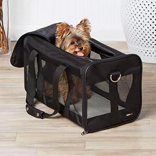 AmazonBasics Large Soft-Sided Mesh Pet Transport Carrier Bag - 20 x 10 x 11 Inches, Black