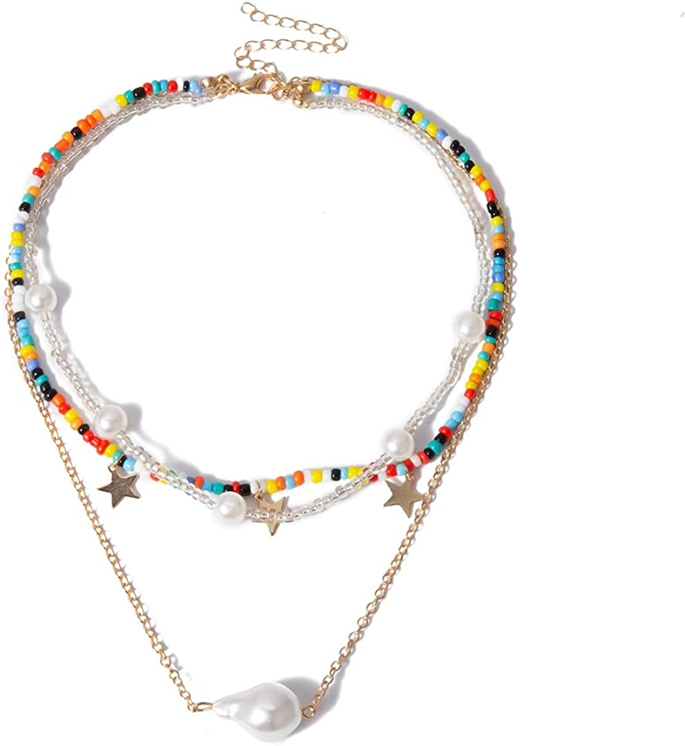 SWAOOS Boho Multi Layer Colorful Seed Bead Choker Necklace Collar Statement Imitation Pearl Pendant Necklace Women Jewelry