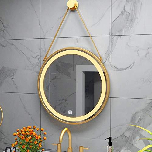 BABYCOW Espejo de baño Iluminado con luz LED Espejo de Maquillaje Redondo de Pared Espejo Decorativo para Sala de Estar con Interruptor táctil Inteligente Puede desempañar HD Espejo Plateado