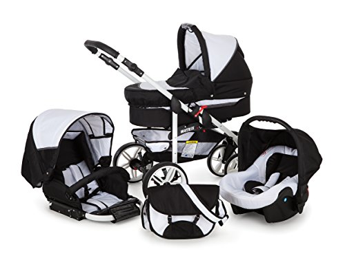 Kinderwagen Matrix GO + Autositz Weiß & Grau +Fleecefußsack +Sonnenschirm