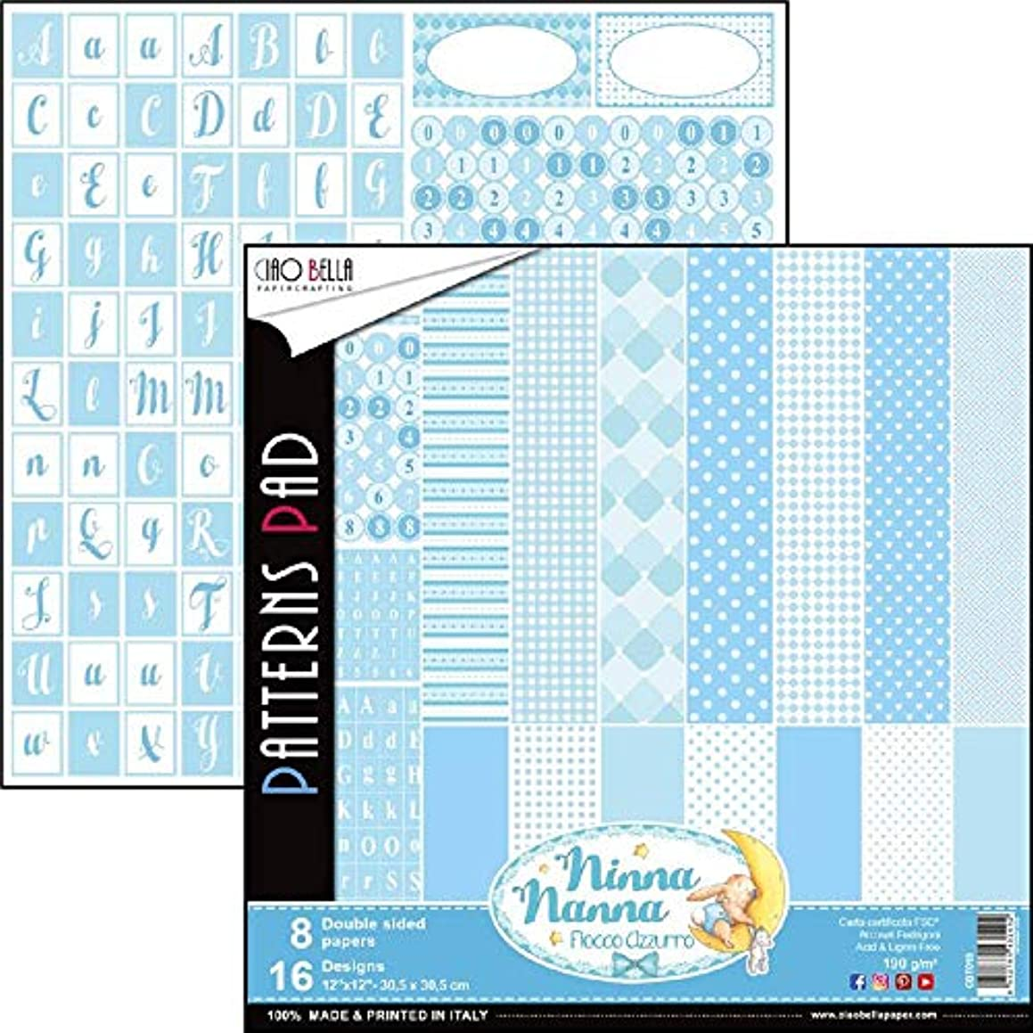 Ciao Bella CBT019 Ninna Nanna Boy Double-Sided Paper Pack 90lb 12