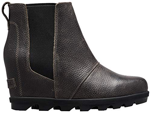 Sorel - Women's Joan of Arctic Wedge II Chelsea, Leather or Suede Ankle Boot, Quarry, 7.5 M US