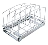TQVAI Pull Out Cookware Organizer Under Cabinet Slide Roll Out Bakeware Holder Cutting Board Storage Rack - Request at Least 12 inch Cabinet Opening, Chrome Sliver