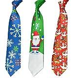 HOWAF 3 Stücke Lustig Weihnachtskrawatte Herren Männer Schneeflocke Weihnachtsmann Weihnachtskrawatte für deko Weihnachten Kostüm Zubehör Herren Geschenk