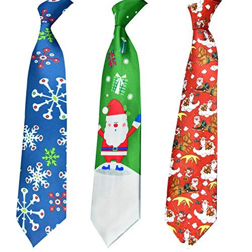 HOWAF 3pcs Corbata navideña para Adultos Hombres, Corbatas de Novedad Corbata de Copo de Nieve Papá Noel para Hombres, Talla única