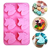 MEIBEL Unicorn Head Silicone Mold 6 Cavities Silicone Molds for Making Candy Bath Bombs Chocolate Fondant Gelatin Soaps Cookies & Candles jello Resin Crayon Lotion Bars Ice Cube Tray kids DIY Mold
