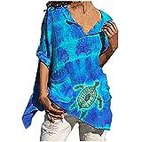 YingeFun Women's Slub Linen Tops Loose Tshirts Crew Neck 3/4 Sleeve Shirts Summer Tunic Blouse for Women Teen Casual Blue