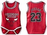 MCE Babystrampler Chicago Bulls Jordan # 23 Fans Ärmel Basketball Jerseys Overall for Baby-Mädchen (Color : Red, Size : 12~18 Months)