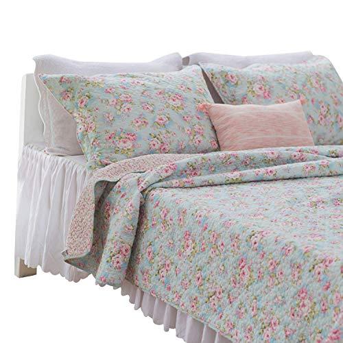 Brandream Romantic Rose Floral Bedding Set Girls Summer Quilt Set Full Size