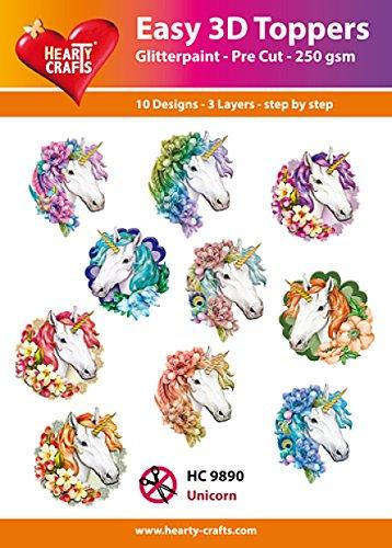Easy 3D Toppers Eenhoorn, Papier, Multi kleuren, 17 x 10 x 1 cm