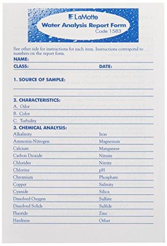 LaMotte 1583 - Bloc de notas de análisis de agua, 25 formas por bloc