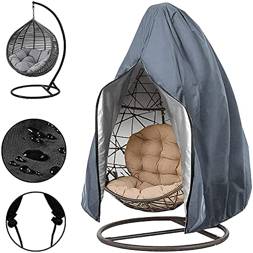 Patio Hanging Egg Stuhlbezug, wasserdichter Anti-UV 210D Oxford Rattan Wicker Schaukelstuhlbezug im Freien mit Reißverschluss & Kordelzug und Aufbewahrungstasche Gray 75''H x 45''W