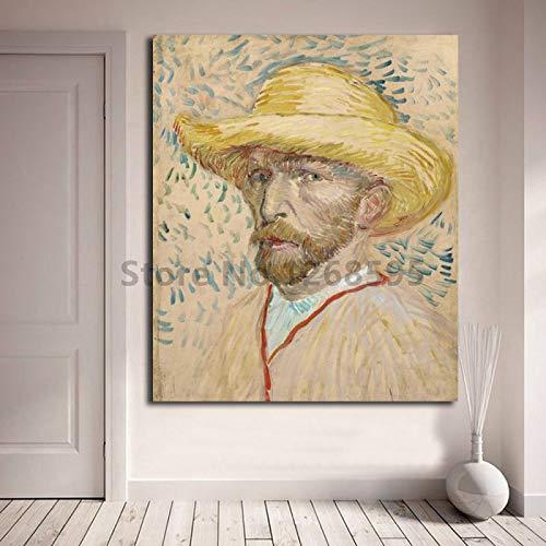 wojinbao Kein Rahmen Berühmter Maler, der Strohhut-HD-Leinwandplakat trägt und Hauptdekoration verziert