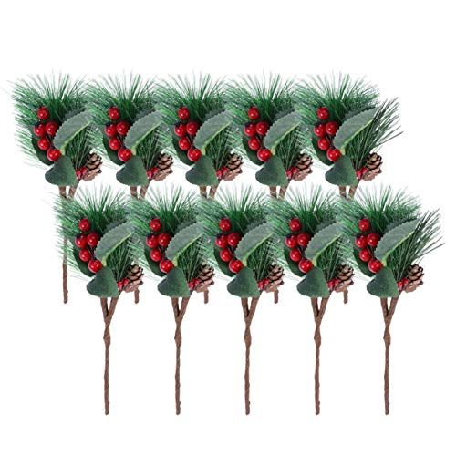 LIOOBO 10pcs Artificial Pine Berries Branches Greenery Xmas Artificial Cedar Branch Christmas Faux Garland Christmas DIY Craft Winter Holiday Decorations