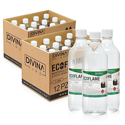 x24 Bioetanolo da 1lt combustibile ecologico naturale inodore ECOFLAME