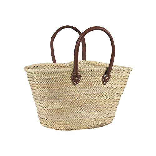 cabas naturel en palmier anses en cuir L.env.55 , cabas de courses , cabas de marché