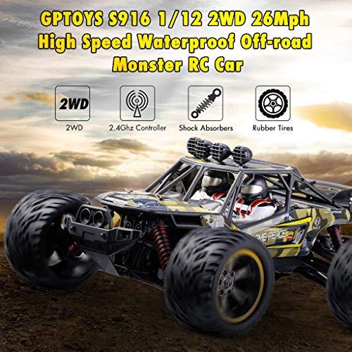 RC Truggy kaufen Truggy Bild 1: GPTOYS Ferngesteuertes Fahrzeug RC Autos 1:12 Skala 2WD 2.4 GHz 26+MPH Halb-Wasserdicht Monstertruck Geländewagen --- Geschenk für Kinder*