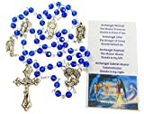 """Includes rosary and prayer card Rosary material: glass beads and metal crucifix and center Rosary size: 6 mm beads, 21"""" long, and 1-3/4"""" Crucifix Prayer card is wallet sized Makes a great gift"""