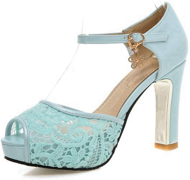 CYBLING Women's Peep Toe Platform Sandal Pumps Lace Flowers High Heeled Evening Party Dress shoes