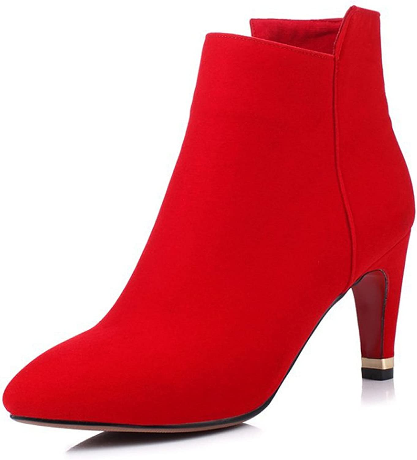 Lucksender Womens Pointed Toe Side Zip High Heel Ankle Boots
