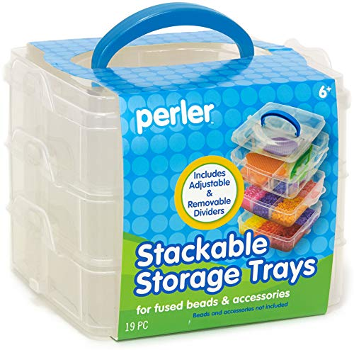 Perler Bead Large Organizer Stackable Storage Container Bead Trays, 3pc.