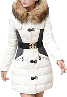 Womens Puffer Long Coat Winter Faux Fur Hood Thicker Down Jacket Coats