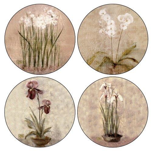 CoasterStone Subtle Flowers Absorbent Coasters, 4-1/4-Inch, Set of 4