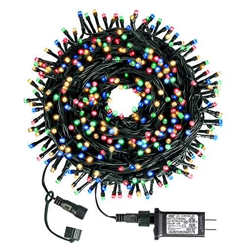 Christmas String Lights End-to-End Plug 8 Modes 108FT 300 LED IP55 Outdoor Waterproof UL Certificated Indoor Fairy Lights Halloween Garden Patio Wedding Christma Trees Parties Decoration Multicolor