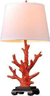 Table lamp Sala de Estar Mar del Coral Lámpara de Mesa Base de Resina y Tela Decoración de Dormitorio Rojo luz de Escritorio