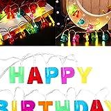 Gmasuber Luces de feliz cumpleaños – 13 luces LED de cadena de luces para interiores, hogar, Navidad, cumpleaños, decoraciones de fiesta