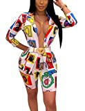 Women's Casual Suit Set Graphic Print 3/4 Sleeve Blazer Jacket and Shorts 2 Piece Outfits White L