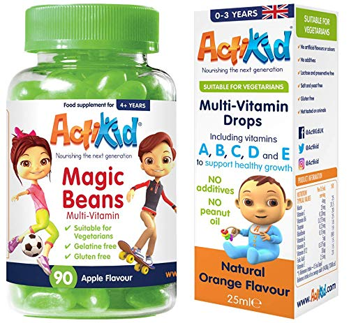 2 Pack ActiKid Multi-Vitamin Apple Flavour 90x Magic Beans & Multi-Vitamin Drops 25ML Infants and Children Taken Daily for | Immune Boost | Health Benefits |