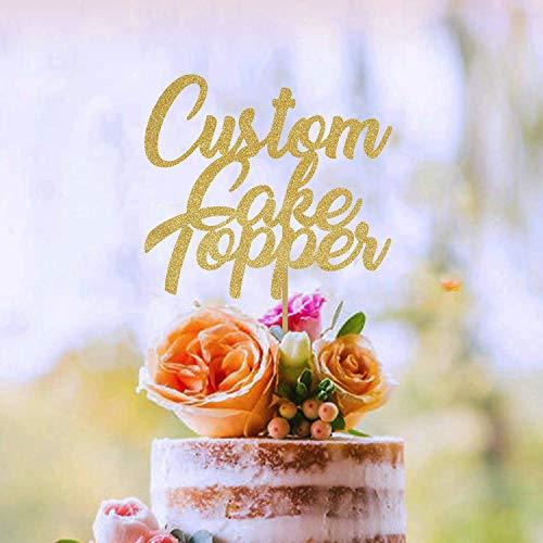 Custom Cake Topper, Gold Glitter, Personalized Cake Topper, Custom Text Cake Topper, Birthday, Bride, Marry, Wedding, Graduate, Retirement