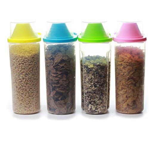 4 contenitori per cereali, in colori diversi, con misurino, 4 X Large 2.5L