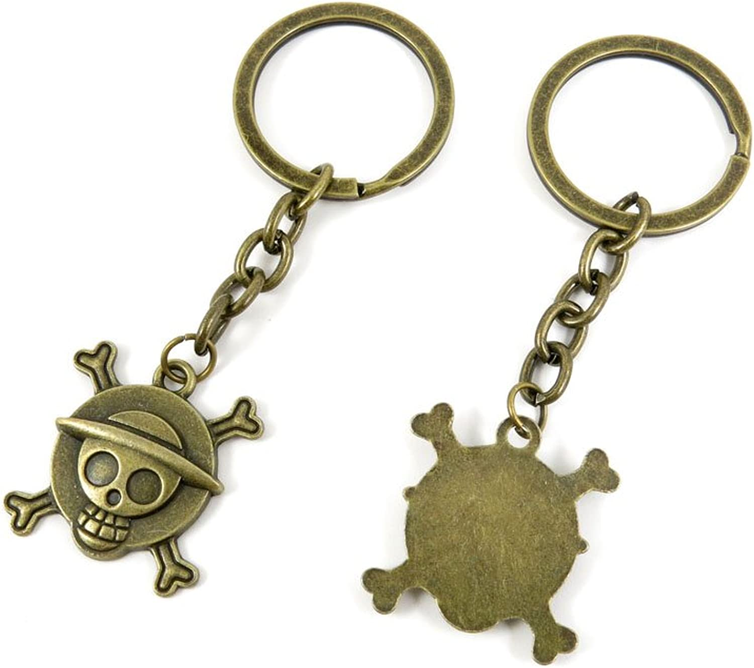 100 PCS Keyrings Keychains Key Ring Chains Tags Jewelry Findings Clasps Buckles Supplies C3NT5 Pirate Skull