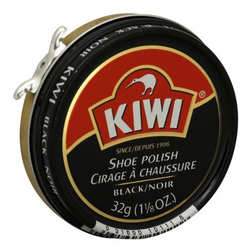 KIWI Black Shoe Polish and Shine | Leather Shoe Cleaner for Dress Shoes and Boots | Carnauba Wax | 1 1/8 Oz | Pack of 12