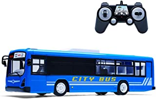 LXWM RC City Bus 2.4G RC Bus with Opening Doors and Realistic Sounds 6 Channel Remote Control City Bus Express Bus School Bus Rechargeable Toy for Kids