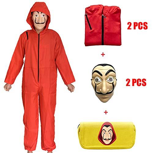 ZHANGXX Salvador Dali film huispapier kostuum Casa Papel Cosplay Party Halloweenmasker Money Heist kostuum + masker + T-shirt