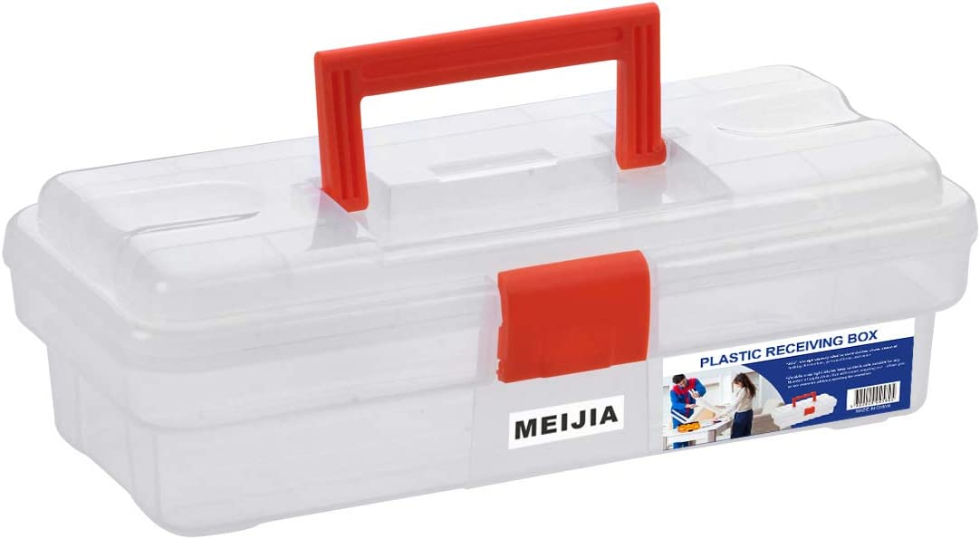 "MEIJIA Portable Tool Storage Box, Organizers With Foldable Latches (Black And Orange) (12""x5.9""x3.94"")"