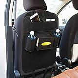 KingkoKick-Matten mit Multi-Pocket-Organizer, Sitzlehnenabdeckungen für Auto-, SUV-, Minivan oder LKW-Sitze, Auto Zubehör und Schutz für Kinder (Schwarz)