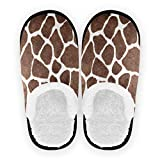 ALAZA Animal Giraffe Print Home Slippers Non Slip Cotton Slippers Home Hotel Spa Bedroom Travel L for Men Women
